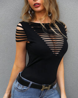 Solid Ladder Cut Out Casual Top