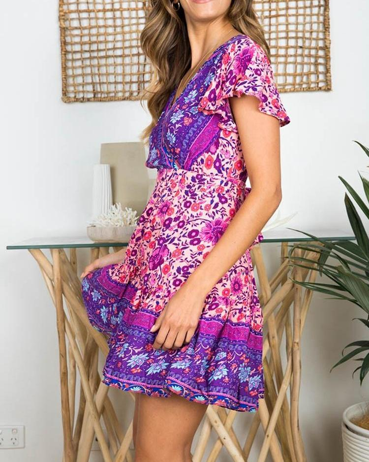 Short Sleeve Floral Print Casual Dress