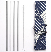 Load image into Gallery viewer, Silver Stainless Steel Straws Set
