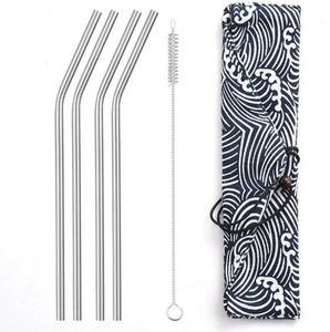 Silver Stainless Steel Straws Set