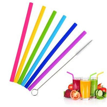 Load image into Gallery viewer, Silicone Drinking Straws Pack