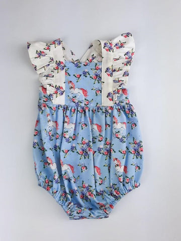 Pinafore Romper in Blue Unicorns