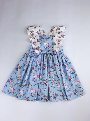 Pinafore Dress in Blue Unicorns