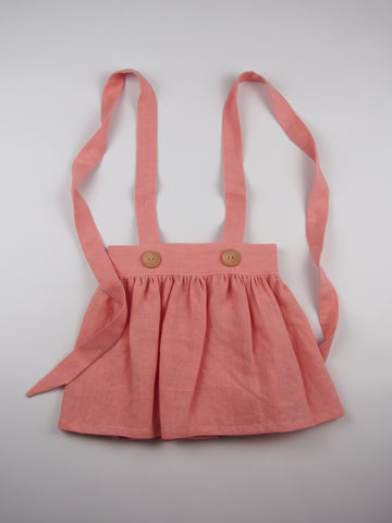 'Mia' Skirt in Peach Linen