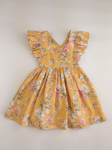 Pinafore Dress in Mustard Magnolia