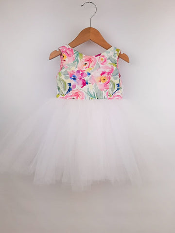 Tutu Dress - 'Spring Blooms' with White