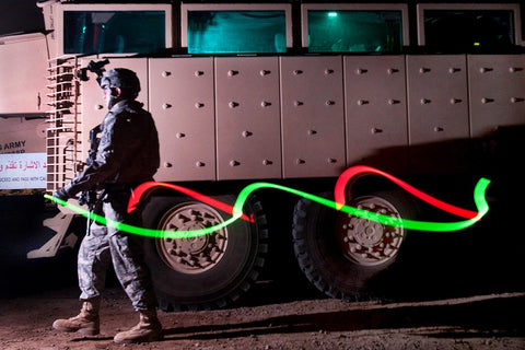 soldier with glowsticks