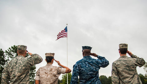 Different US Military Services Saluting US Flag