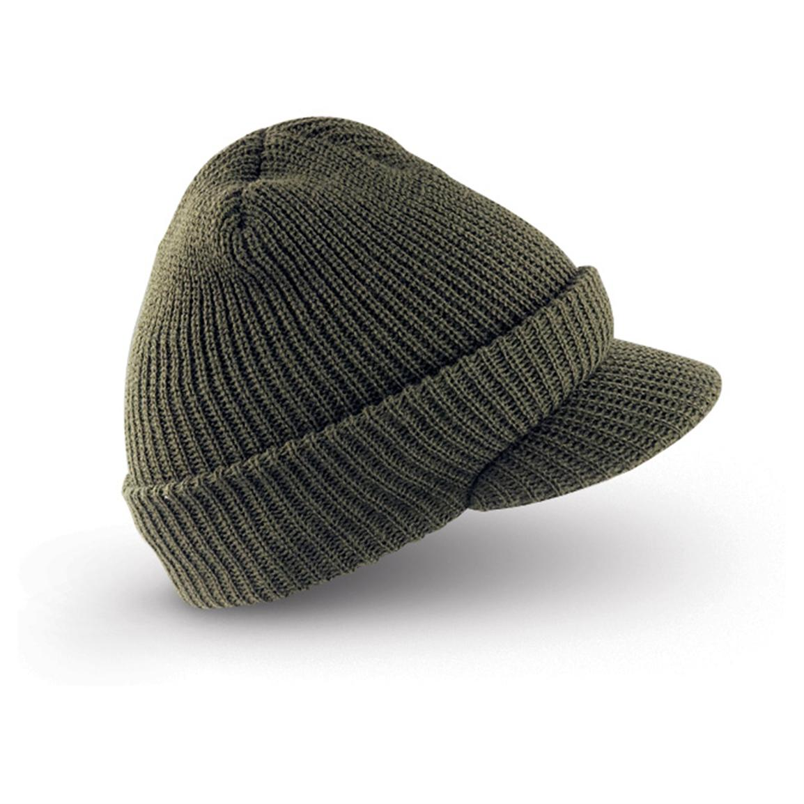 94b36ad3 3-Pack -Pack 100% Wool Military Jeep Cap, Black, Navy, OD, One Size ...