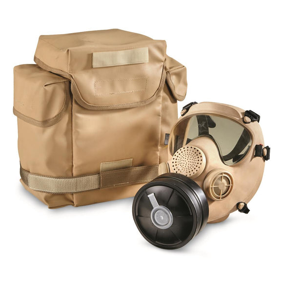 Polish MP5 Gas Mask with Filter and Bag, Like New, Tan