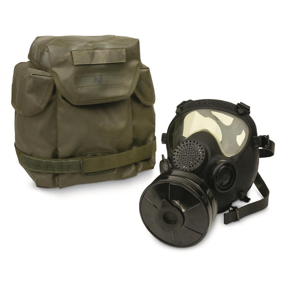 Polish MP5 Gas Mask with Filter and Bag, Like New, Black