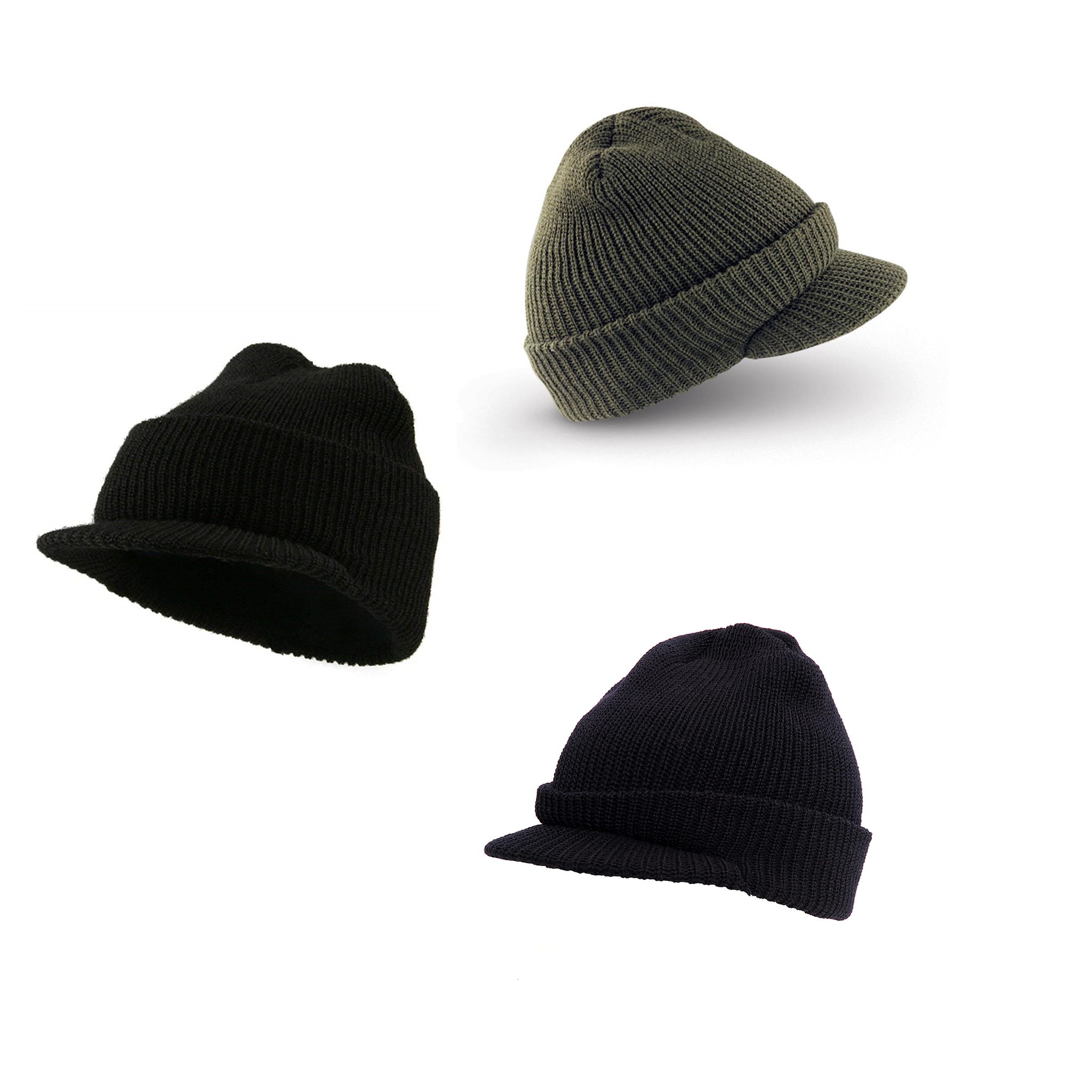 c934e3107 3-Pack -Pack 100% Wool Military Jeep Cap, Black, Navy, OD, One Size ...
