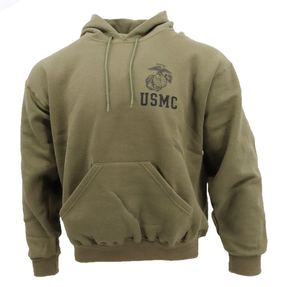 USMC EGA Hooded Sweatshirt— Olive Drab