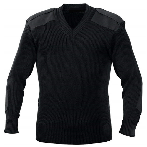 V-Neck Uniform Sweater with Epaulettes