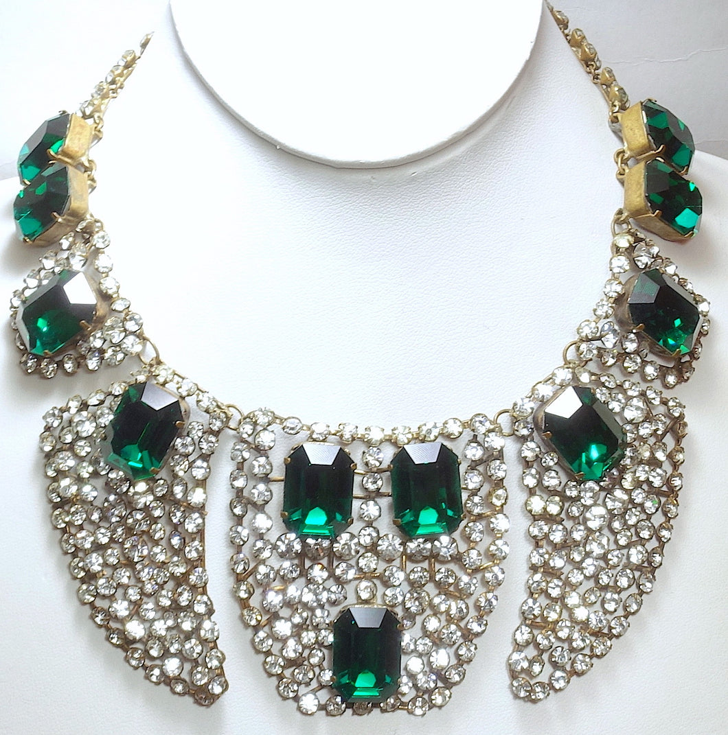 Rare 1920s/30s Vintage French Paste Bib Necklace
