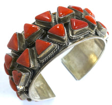 Load image into Gallery viewer, Vintage Early Zuni Pawn American Indian Blood Coral & Sterling Cuff Bracelet