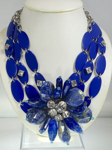 Vintage 80s-90s Signed YSL Robert Goosens Paris Lapis Floral Necklace