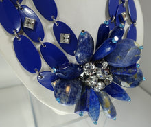 Load image into Gallery viewer, Vintage 80s-90s Signed YSL Robert Goosens Paris Lapis Floral Necklace