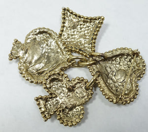 Vintage French 1980s Edouard Rambaud Gripoix Heart, Ace, Spades Brooch