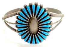 Load image into Gallery viewer, Vintage Zuni American Indian Needlepoint Turquoise Sterling Child's Bracelet