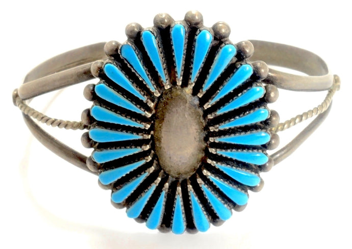Vintage Zuni American Indian Needlepoint Turquoise Sterling Child's Bracelet