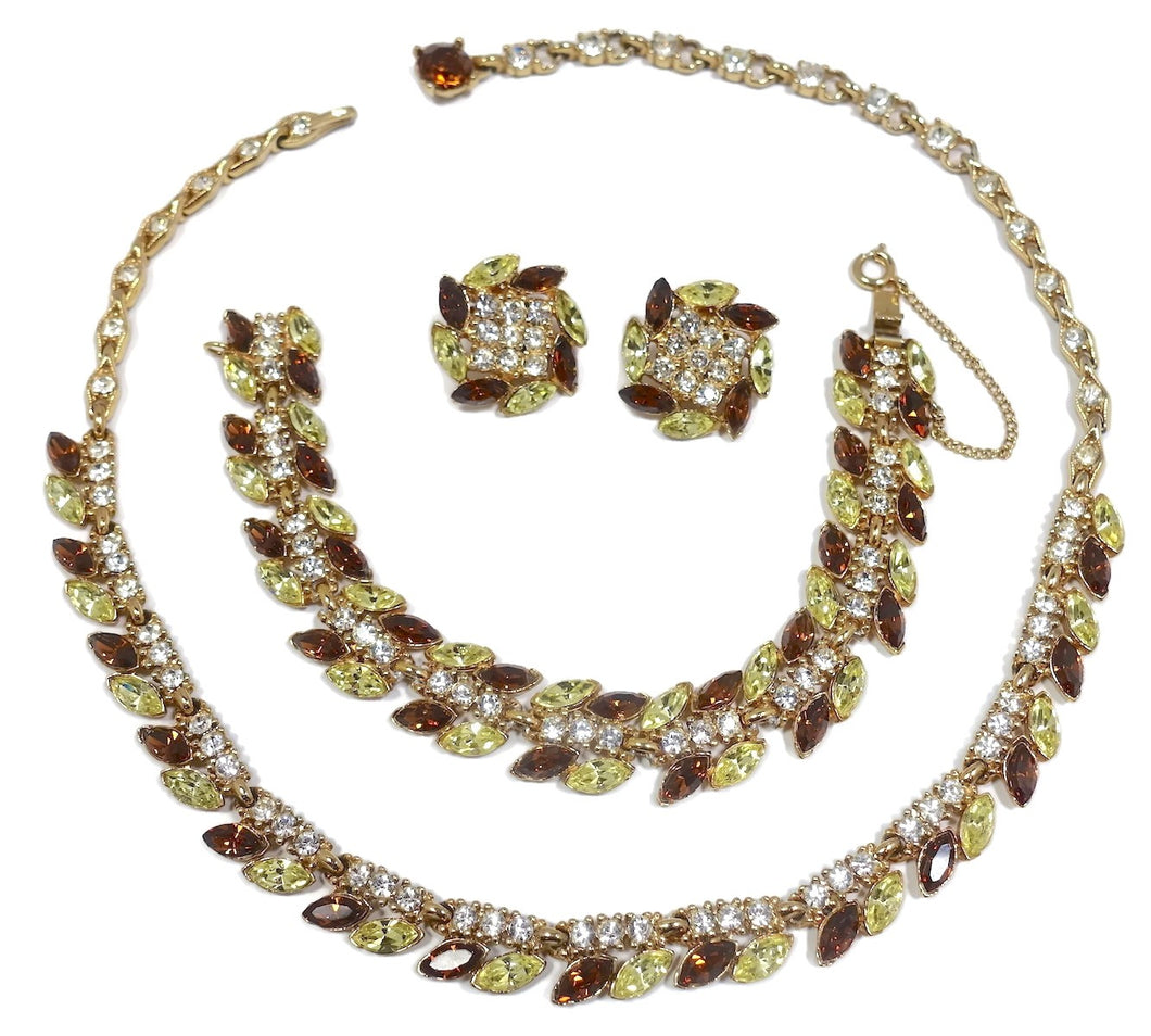 Vintage Signed Bogoff Couture Crystal Parure - Necklace, Bracelet and Earrings
