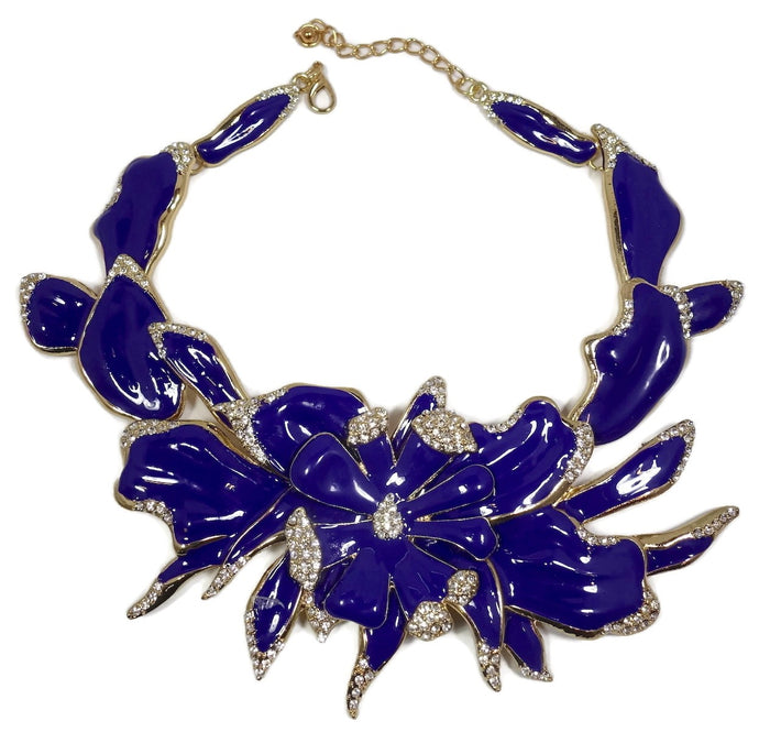 Unsigned Oscar De La Renta Deep Cerulean Blue Enameled Orchid Necklace
