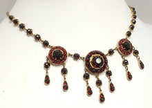 Load image into Gallery viewer, Vintage Art Deco 30s Gold Wash/Sterling Silver Garnet Necklace