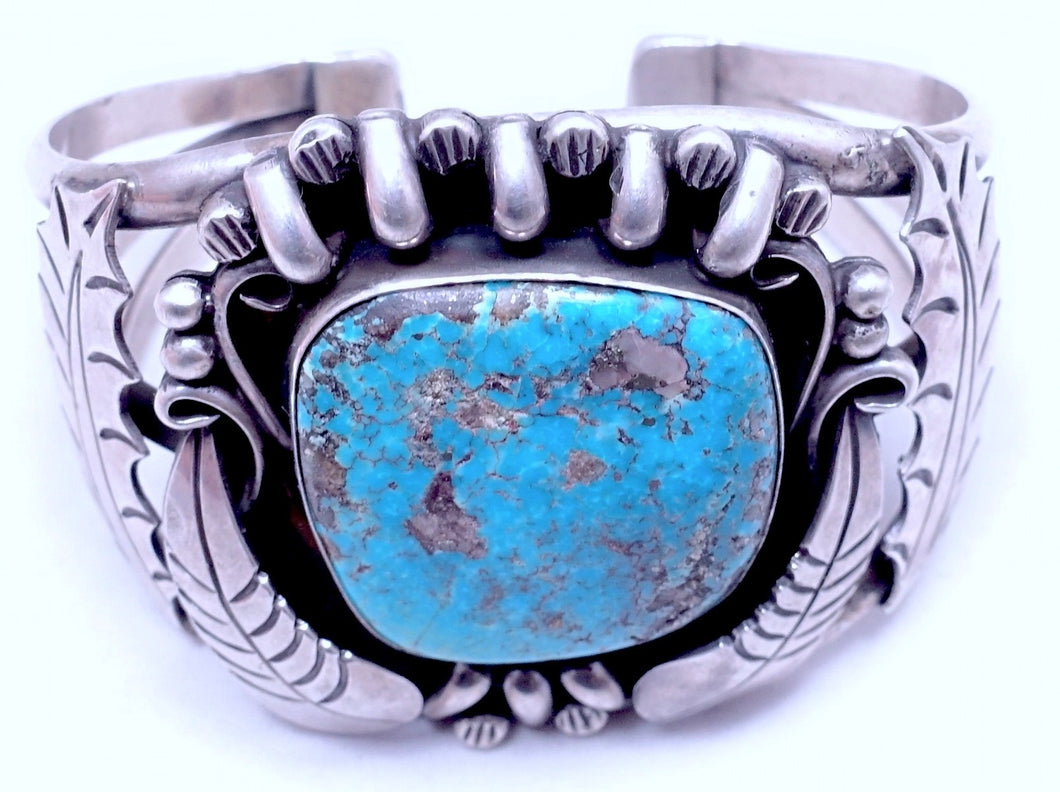 "Large Navajo Signed ""JP"" Turquoise & Sterling Silver Cuff"