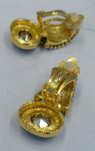 Load image into Gallery viewer, Vintage 1970s Amber Crystal Clip Earrings