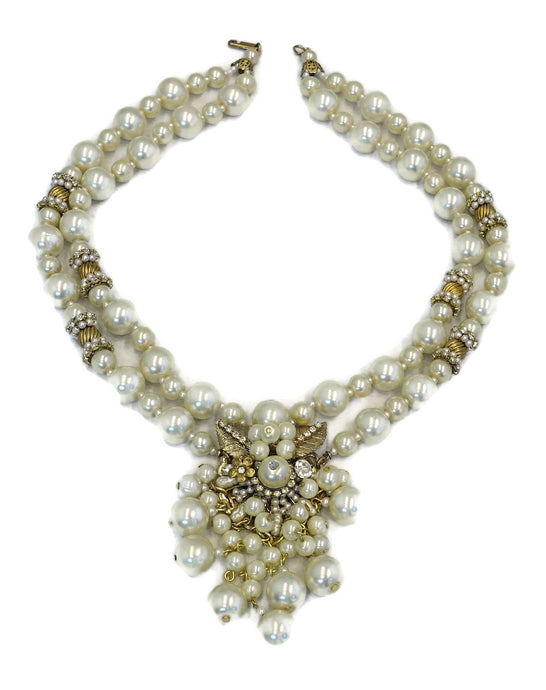 Vintage 1950s Miriam Haskell Faux Pearl & Rhinestone Drop Necklace