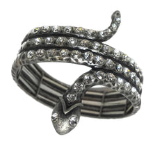 Load image into Gallery viewer, Dramatic Snake-Serpent & Crystal Accent Bracelet
