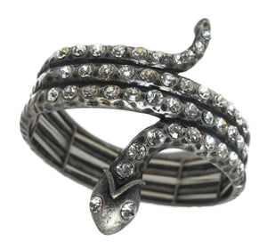 Dramatic Snake-Serpent & Crystal Accent Bracelet