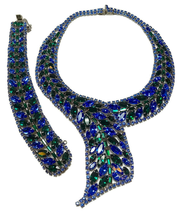 Vintage Weiss Blue & Green Crystals Necklace & Bracelet