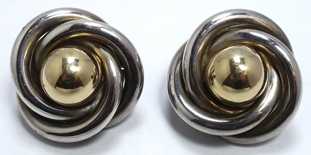 Vintage Sterling Silver & Gold Wash Circular Earrings