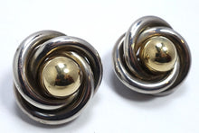 Load image into Gallery viewer, Vintage Sterling Silver & Gold Wash Circular Earrings