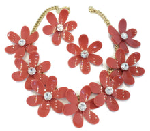 Load image into Gallery viewer, One-of-a-Kind Anka Raspberry Daisy Necklace & Earrings Set