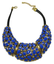 Load image into Gallery viewer, Wow! Cobalt Blue Oscar De La Renta Necklace