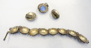 Collectible Vintage Deco 1930s Ornate Sterling Silver Bracelet, Earrings & Ring
