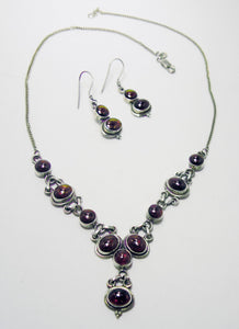 Vintage 1940s Sterling Silver Garnet Necklace & Earring Set