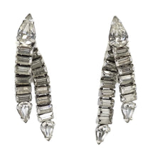 Load image into Gallery viewer, Vintage 1950s Clear Crystal Dangle Earrings