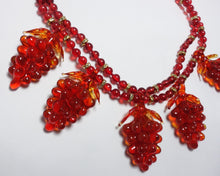 Load image into Gallery viewer, Vintage 1930s Czech Red Glass Grapes Necklace