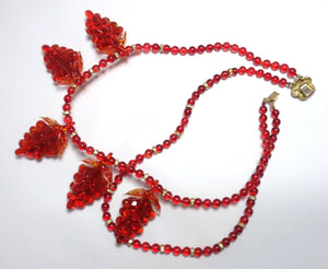 Vintage 1930s Czech Red Glass Grapes Necklace