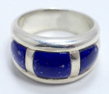 Load image into Gallery viewer, Vintage Lapis & Sterling Silver Ring, Size 10