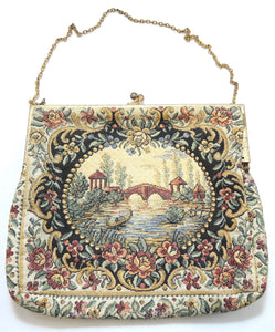Vintage 1920s Water Under The Bridge Tapestry Bag