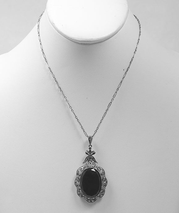 Vintage Deco Onyx, Marcasites & Sterling Silver Pendant Necklace