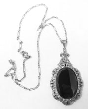 Load image into Gallery viewer, Vintage Deco Onyx, Marcasites & Sterling Silver Pendant Necklace