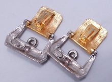 Load image into Gallery viewer, Signed Kenneth Lane Buckle Crystal Earrings
