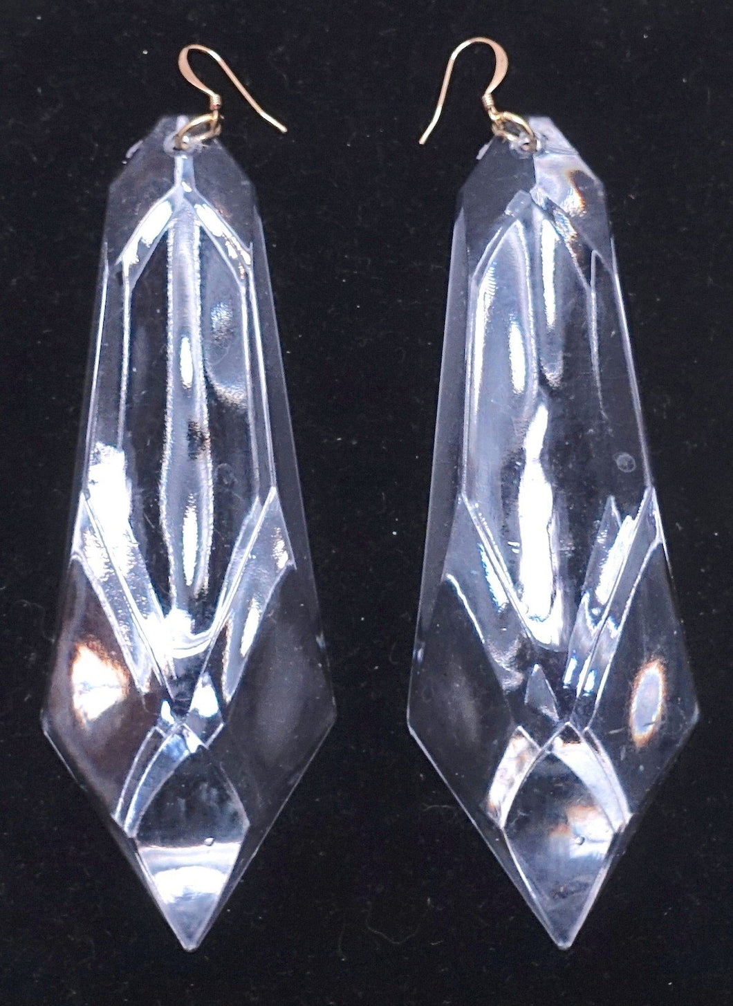"Extremely Long Kenneth Lane Clear Lucite 4-7/8"" Pierced Earrings - JD10104"