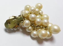 Load image into Gallery viewer, Vintage 1950s DeMario Faux Pearl Cluster Earrings